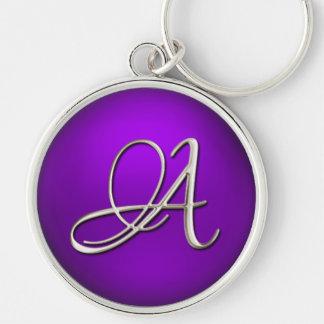 Silver Initial Purple Keychain