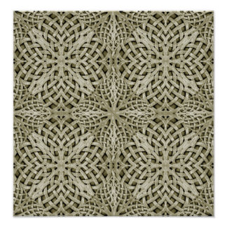 Silver Intricate Arabesque Pattern Poster