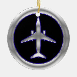 Silver Jet Aircraft Christmas Ornament