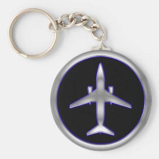 Silver Jet Aircraft Key Ring