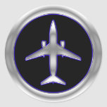 Silver Jet Aircraft Round Stickers