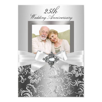 "Silver Jewel Bow & Floral 25th Wedding Anniversary 5"" X 7"" Invitation Card"