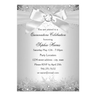 Silver Jewel Bow Snowflake Quinceanera Card