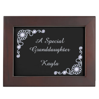 Silver Jewel Granddaughter Personalized Keepsake Keepsake Box