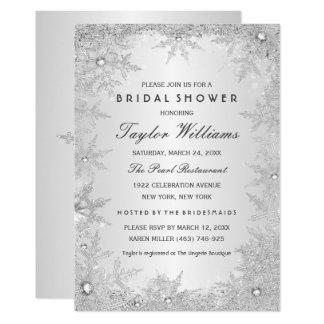 Silver Jewel Snowflake Bridal Shower Card