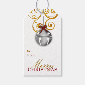 Silver Jingle Bell Merry Christmas Gift Tags