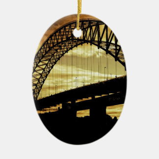 Silver Jubilee Suspension Bridge Silhouette Sunset Christmas Ornament