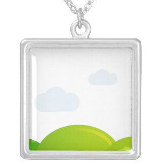 Silver keychaine : green Mountains Silver Plated Necklace