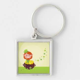 Silver keychaine with Leprechaun Silver-Colored Square Key Ring