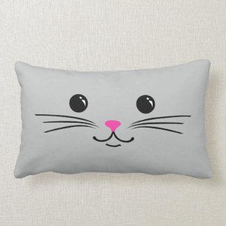 Silver Kitty Cat Cute Animal Face Design Lumbar Pillow