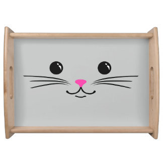 Silver Kitty Cat Cute Animal Face Design Serving Tray