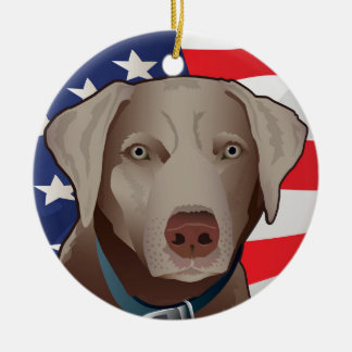 Silver Lab Retriever of America Christmas Ornament