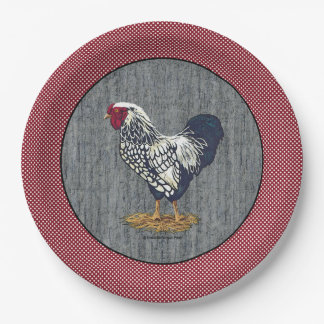 Silver Laced Wyandotte Rooster Barn Boards  Dots 9 Inch Paper Plate