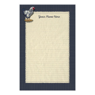 Silver Laced Wyandotte Rooster Denim Personalized Stationery