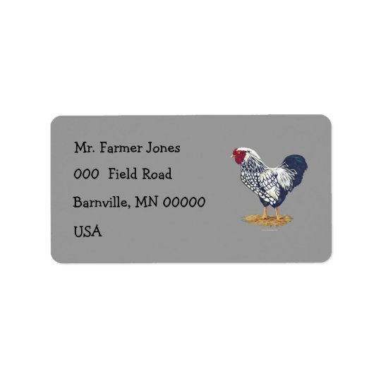 Silver Laced Wyandotte Rooster Label