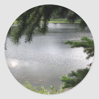 Silver Lake Framed by Evergreen Boughs Classic Round Sticker