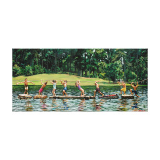 Silver Lake Kids Stretched Canvas Print