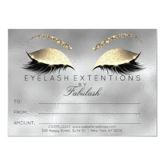 Silver Lashes Extension Makeup Certificate Gift Card