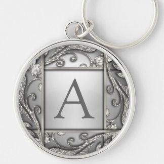 Silver Lattice Monogram Silver-Colored Round Key Ring