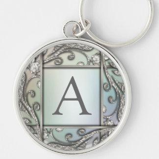 Silver Lattice Monogram Keychain