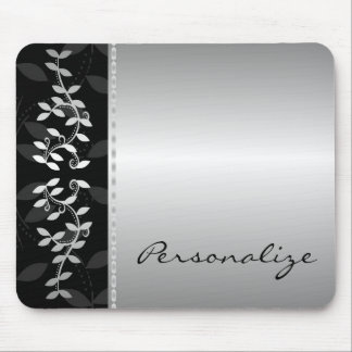 Silver Leaf Border Mousepad