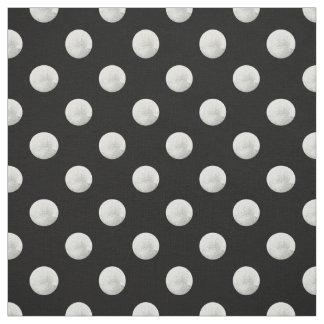Silver leaf photo polka dots fabric