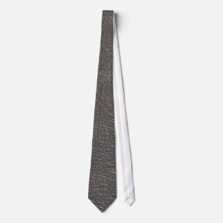 silver Leather Tie