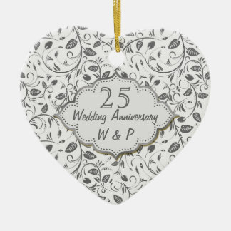 Silver leaves 25th Wedding Anniversary Ceramic Heart Decoration