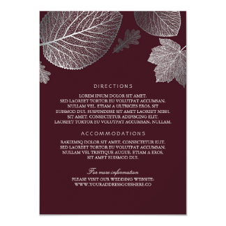 Silver Leaves Burgundy Wedding Details-Information Card