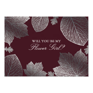 Silver Leaves Fall Wedding Flower Girl Invitation