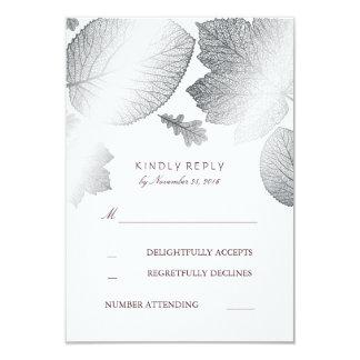 Silver Leaves Fall Wedding RSVP Cards 9 Cm X 13 Cm Invitation Card