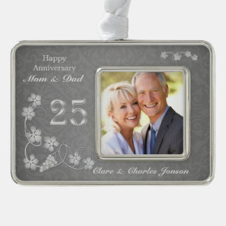 Silver leaves on gray 25th Wedding Anniversary Silver Plated Framed Ornament