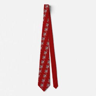 Silver Leo Lion Zodiac Red Tie