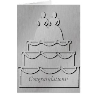 Silver Lesbian Wedding Cake Card