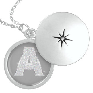Silver Letter A Round Locket Necklace