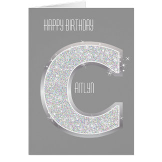 Silver Letter C Card