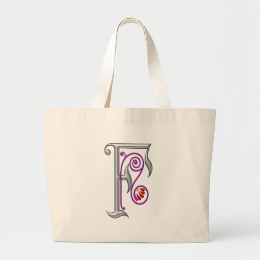 Silver Letter F Ornamental II Jumbo Tote Bag