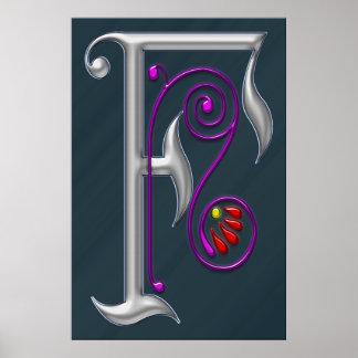 Silver Letter F Ornamental Print