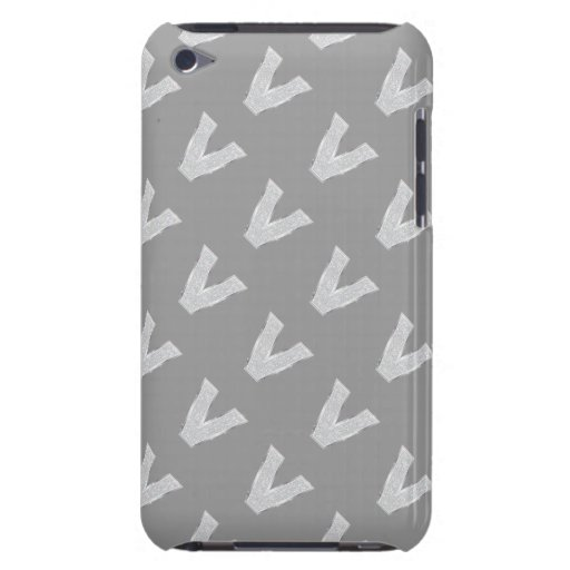 Silver Letter V Barely There iPod Cases
