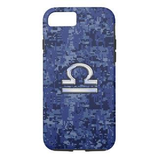 Silver Libra Zodiac Sign on blue digital camo iPhone 7 Case