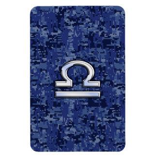 Silver Libra Zodiac Sign on blue digital camo Rectangular Photo Magnet