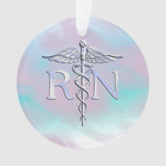 Silver Like RN Caduceus Medical Mother Pearl Ornament
