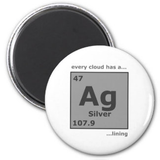 Silver Lining 6 Cm Round Magnet