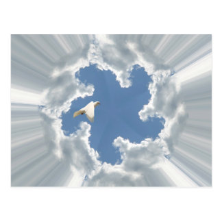 Silver lining cloud with flying dove postcard