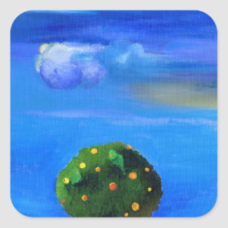 Silver Lining over the Orange Tree 2012 Square Sticker