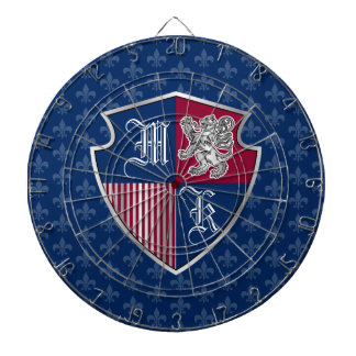 Silver Lion Coat of Arms Monogram Emblem Shield Dartboard