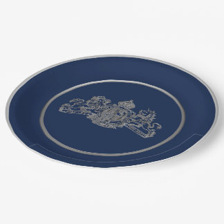Silver Lion Unicorn British Coat of Arms Navy Blu Paper Plate