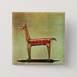 Silver Llama Figurine, from Peru, after 1438 15 Cm Square Badge