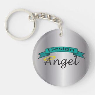 Silver Logo Branded Single Sided Key chain