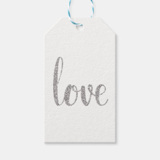 Silver love favor tags, glitter, vertical